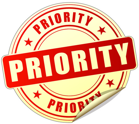 priority: illustration of priority red sticker on white background Illustration
