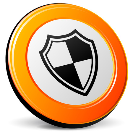 security icon: illustration of shield 3d design orange icon