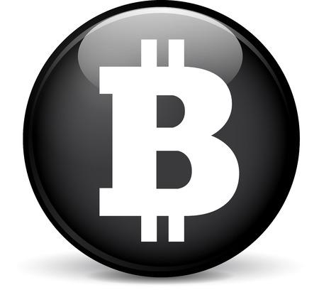 money sphere: Illustration of bitcoin modern design black sphere icon Illustration
