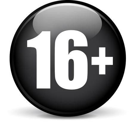 sixteen: Illustration of sixteen modern design black sphere icon Illustration