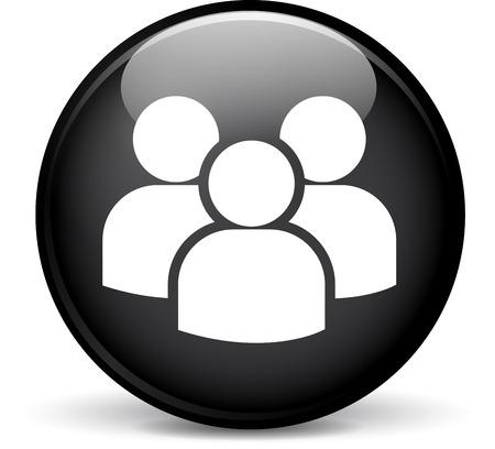 circulo de personas: Ilustraci�n de un grupo de dise�o moderno esfera icono negro