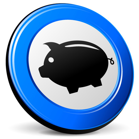 blue design: illustration of piggybank 3d blue design icon Illustration