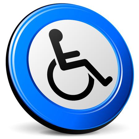 blue design: illustration of wheelchair 3d blue design icon