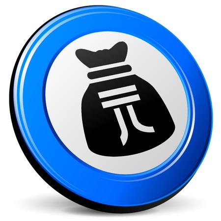 yuan: illustration of yuan bag 3d blue icon