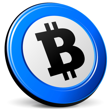 p2p: illustration of bitcoin 3d blue design icon Illustration