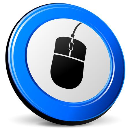 blue design: illustration of mouse 3d blue design icon Illustration
