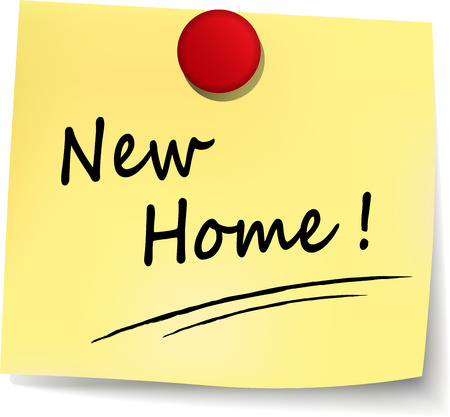 family moving house: illustration of new home yellow note concept sign