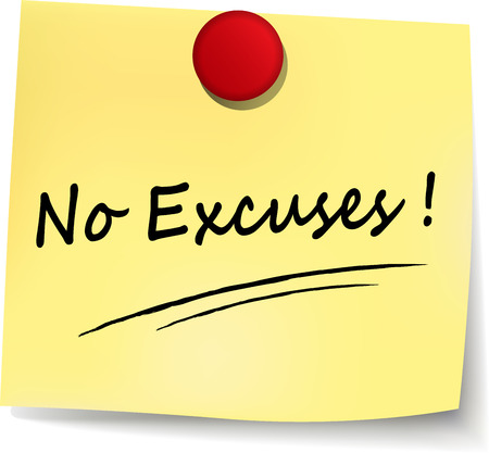 illustration of no excuses yellow note concept sign Illustration