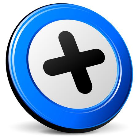 blue design: illustration of plus 3d blue design icon