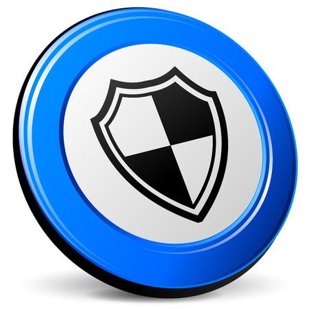 blue design: illustration of shield 3d blue design icon