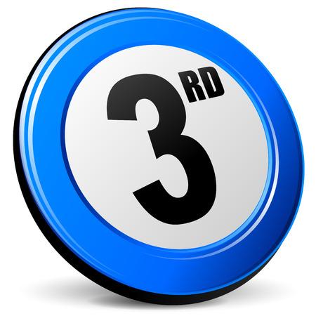3rd: illustration of third 3d blue design icon