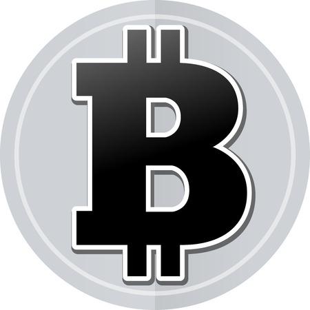 p2p: Illustration of bitcoin sticker icon simple design Illustration