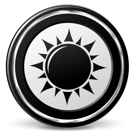 alu: illustration of sun black and silver icon Illustration