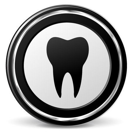 alu: illustration of tooth black and silver icon Illustration
