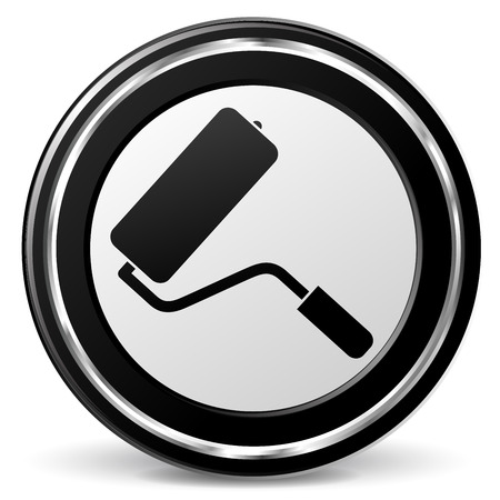 alu: illustration of paint roller black and silver icon