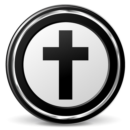 christianity: illustration of christianity black and silver icon