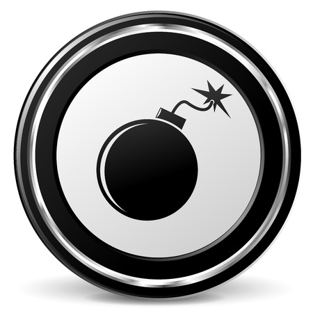 illustration of bomb black and silver icon