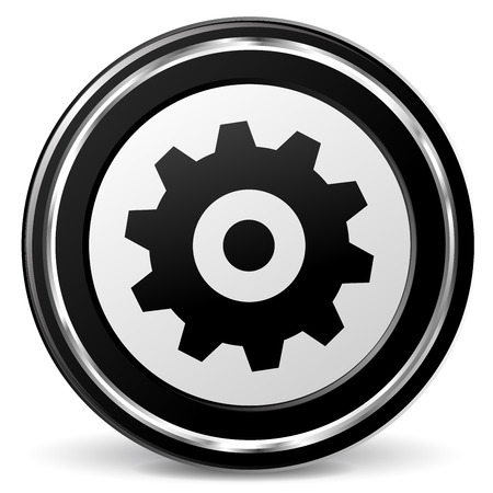 mecanic: illustration of gear black and silver icon