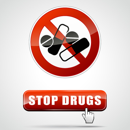 illegal drugs: illustration of stop drugs sign with web button