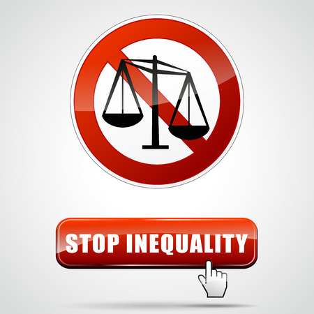 inequality: illustration of stop inequality sign with web button
