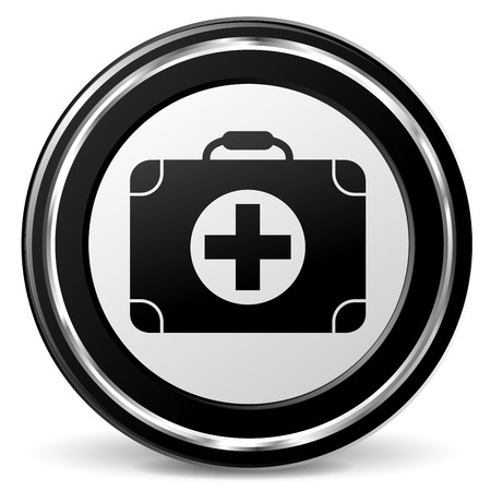 firstaid: illustration of medical black and silver icon