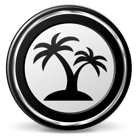alu: illustration of palm black and silver icon Illustration