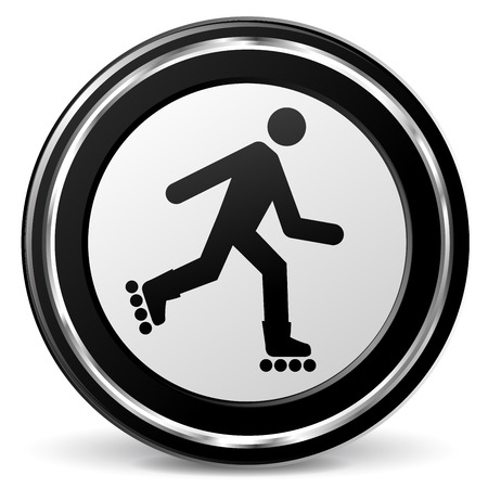 inline skate: illustration of roller skate black and silver icon