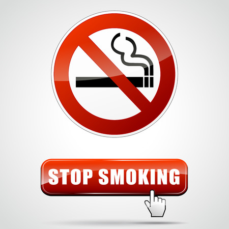 smoking ban: illustration of stop smoking sign with web button