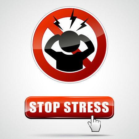 illustration of stop stress sign with web button