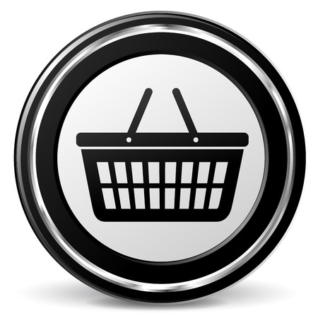 chrome cart: illustration of basket black and silver icon