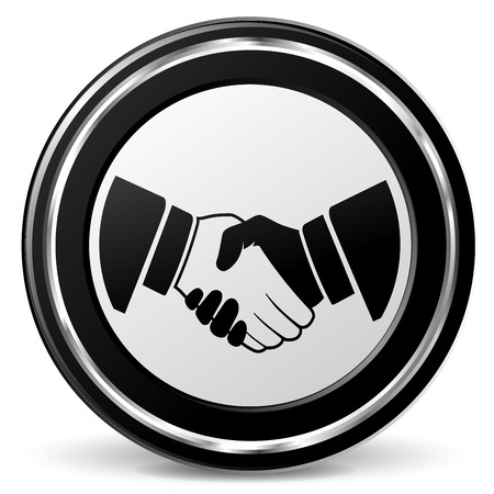 alu: illustration of handshake black and silver icon