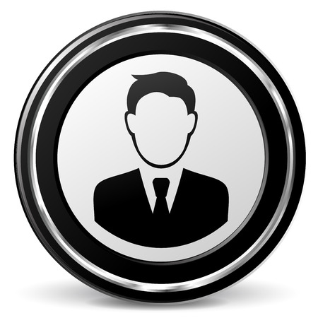 alu: illustration of business man black and silver icon