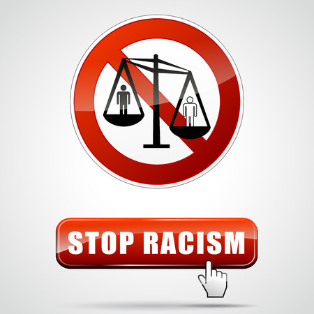 discriminate: illustration of stop racism sign with button