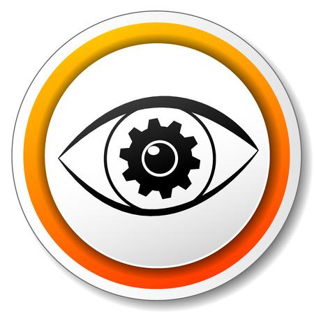 illustration of orange and white icon for eye Vector