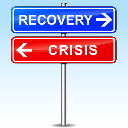 economic recovery: illustration of blue and red arrows for recovery