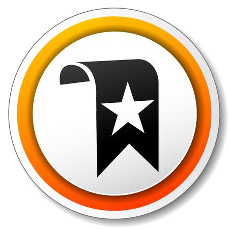bookmark: illustration of orange and white icon for bookmark Illustration