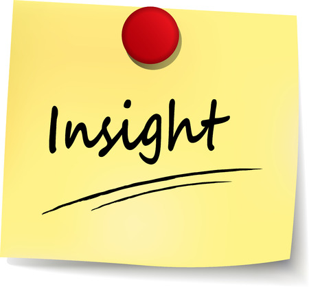 on the comprehension: illustration of insight yellow note on white background