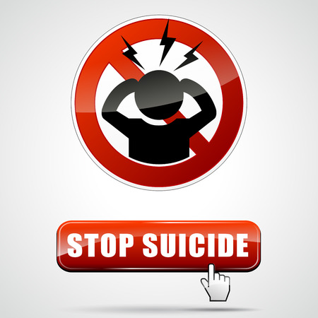 hopelessness: illustration of stop suicide sign with button