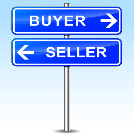 buyer: illustration of blue arrows sign for buyer and seller