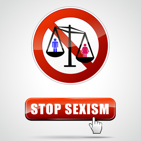 illustration of stop sexism sign with button