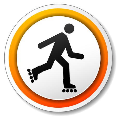 inline skating: illustration of orange and white icon for roller Illustration