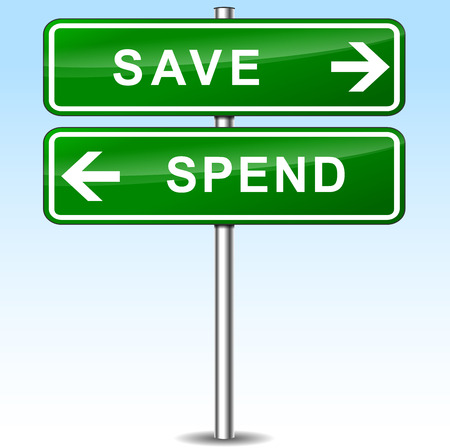 spend: illustration of save and spend directions sign