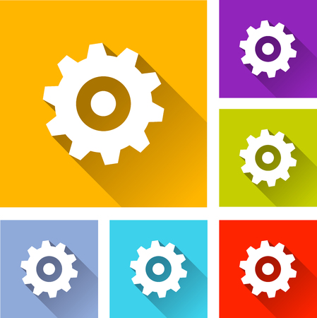 mecanic: illustration of colorful square gear icons set