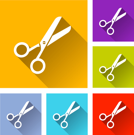 scissors icon: illustration of colorful square scissor icons set Illustration