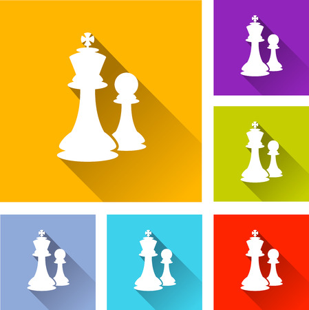 chess set: illustration of colorful square chess icons set