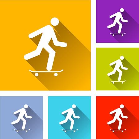 skatepark: illustration of colorful square skateboard icons set