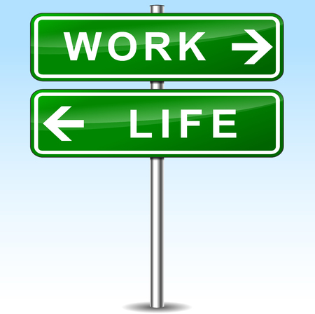 directions: illustration of work and life directions sign Stock Illustratie