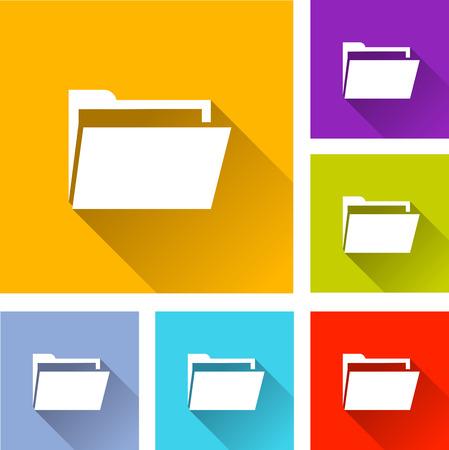 folder icons: illustration of colorful square folder icons set Illustration