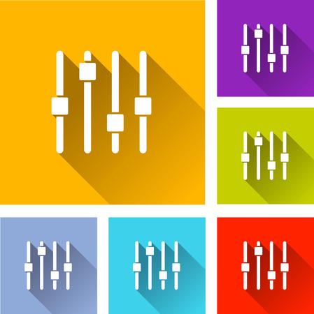 adjustment: illustration of colorful square adjustment icons set
