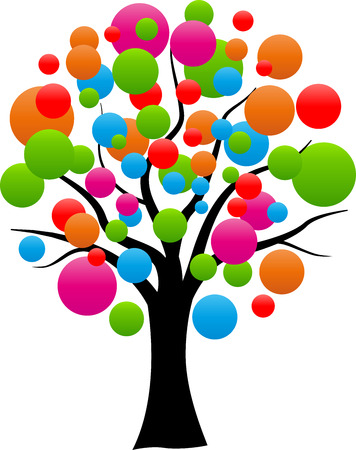 ilustración de árbol abstracto con globos de colores